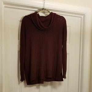 RD Style Ridge Zipper Detail Cowl Neck Sweater